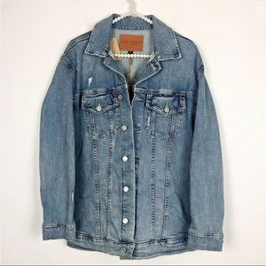 [Lucky Brand] Oversized Distressed Jean Jacket NWT
